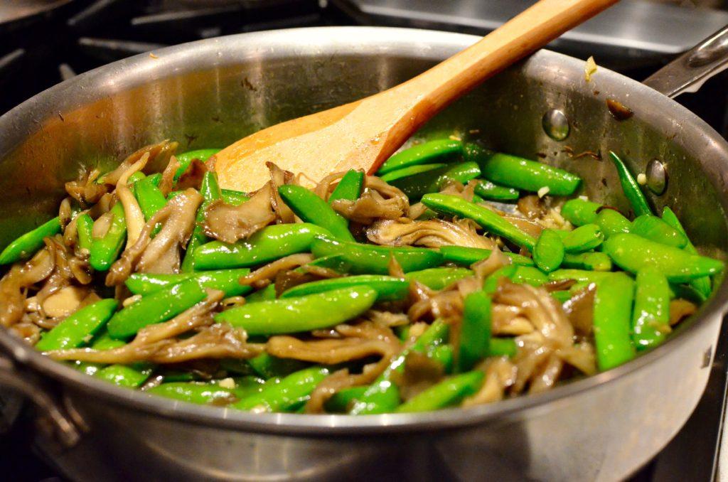 Mindful Cuisine Sauteed Snap Peas and Mushrooms